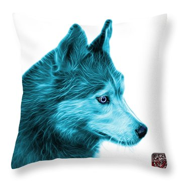 Cyan Siberian Husky Art - 6048 - Wb Throw Pillow