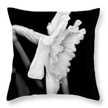 Throw Pillow featuring the photograph Daffodil Flower Black And White by Jennie Marie Schell