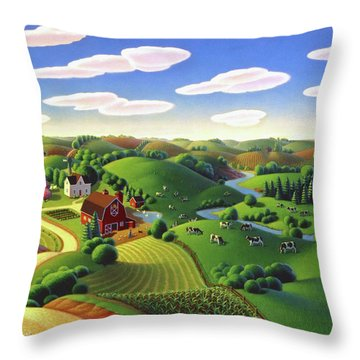 Throw Pillow featuring the painting Dairy Farm  by Robin Moline