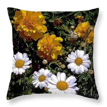 Daisies And Marigolds Throw Pillow