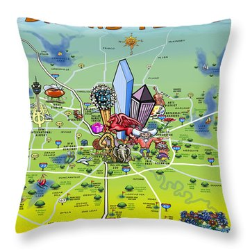 Throw Pillow featuring the painting Dallas Texas Cartoon Map by Kevin Middleton