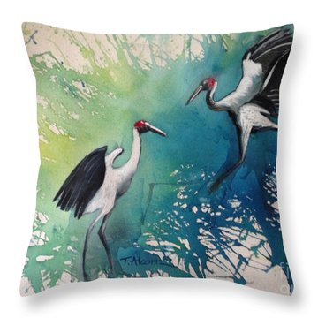 Dance Of The Brolgas - Original Sold Throw Pillow
