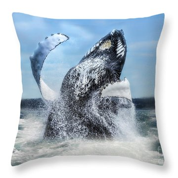 Dances With Whales Throw Pillow by Nancy Dempsey