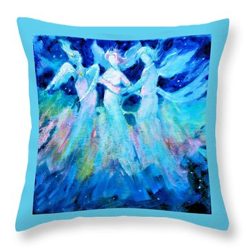 Dancing Angels Throw Pillow by Diane Ursin