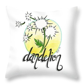Throw Pillow featuring the drawing Dandelion by Cindy Garber Iverson