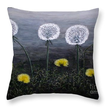 Dandelion Family Throw Pillow by Judy Kirouac