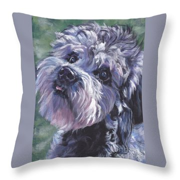 Throw Pillow featuring the painting Dandie Dinmont Terrier by Lee Ann Shepard