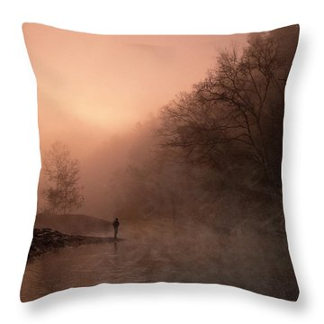 Dawn On The Lower Mountain Fork River Throw Pillow