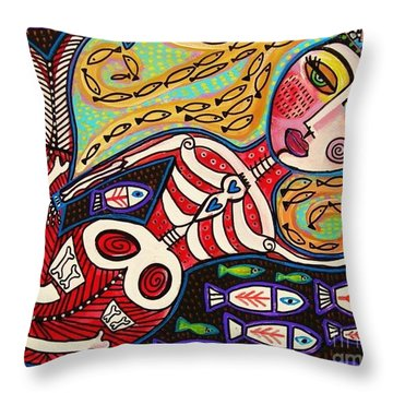 Day Of The Dead Red Skeleton Mermaid Throw Pillow by Sandra Silberzweig