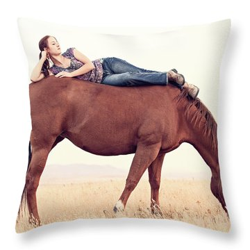 Daydreaming On A Horse Throw Pillow