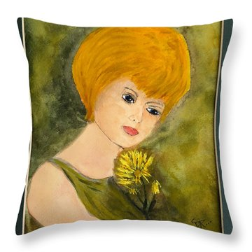 Throw Pillow featuring the painting Debbie by Donald Paczynski