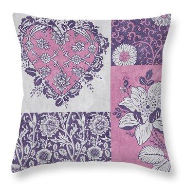 Deco Heart Pink Throw Pillow