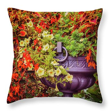 Decorative Flower Vase In Garden Throw Pillow