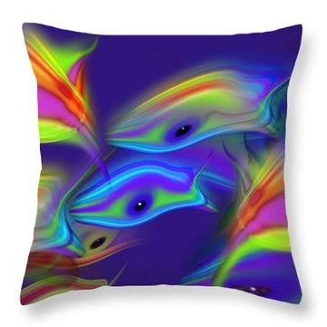 Deep Blue Marine Life Throw Pillow