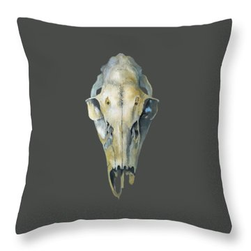 Deer Skull With Aura Throw Pillow by Catherine Twomey