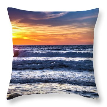 Sunset - Del Mar, California View 1 Throw Pillow