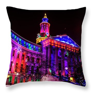 Denver City And County Building Holiday Lights Throw Pillow