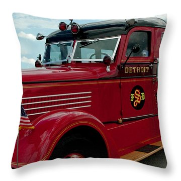 Detroit Fire Truck Throw Pillow