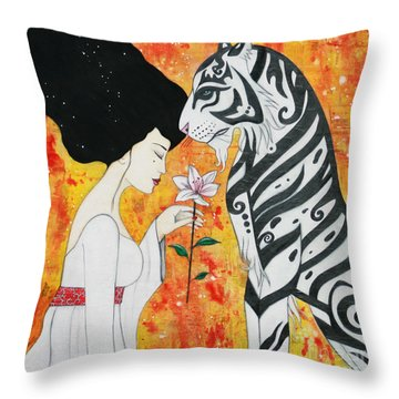 Throw Pillow featuring the mixed media Devoted by Natalie Briney