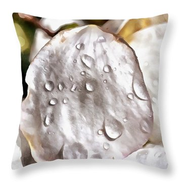 Dewdrops On Almond Tree Flower Throw Pillow