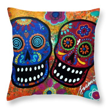 Dia De Los Muertos Couple Throw Pillow