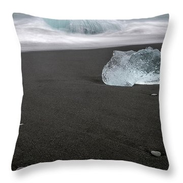 Throw Pillow featuring the photograph Diamonds Floating In Beaches, Iceland by Pradeep Raja PRINTS