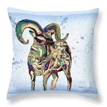 Digital Bighorn Ram Throw Pillow