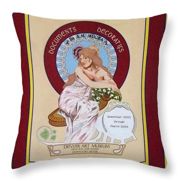 Digital Mucha Throw Pillow