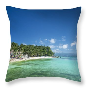 Diniwid Beach In Tropical Paradise Boracay Philippines Throw Pillow