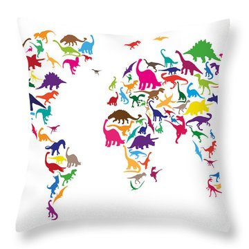 Map Of The World Throw Pillows