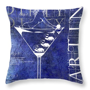Dirty Dirty Martini Patent Blue Throw Pillow