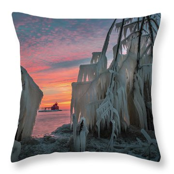 Distant Lighthouse Throw Pillow
