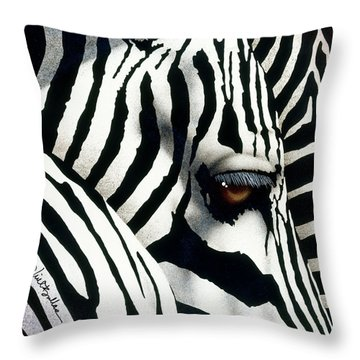 Do Zebras Dream In Color? Throw Pillow by Will Bullas