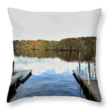 Dock Of The Bay Throw Pillow by Michael Albright