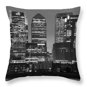 Docklands Canary Wharf Sunset Bw Throw Pillow by David French