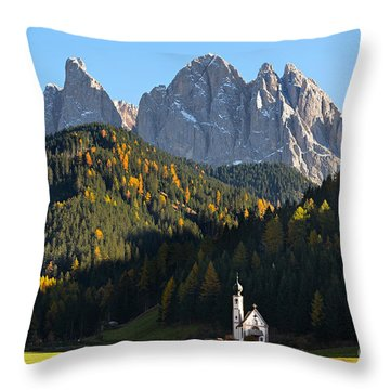 Dolomites Mountain Church Throw Pillow