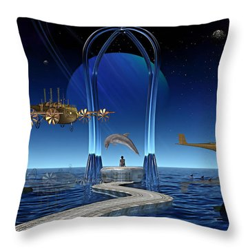 Dolphin Dreams Throw Pillow by Marvin Blaine