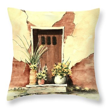 Throw Pillow featuring the painting Door With Pots by Sam Sidders