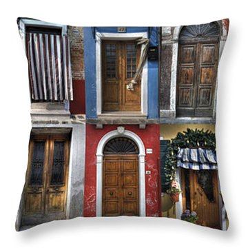 doors and windows of Burano - Venice Throw Pillow