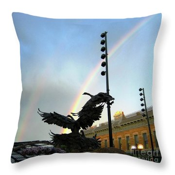 Double Rainbow Over Old Town Square Throw Pillow