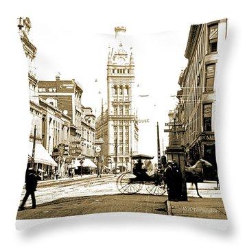 Downtown Milwaukee, C. 1915-1920, Vintage Photograph Throw Pillow