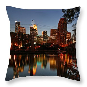 Downtown Minneapolis At Night Throw Pillow