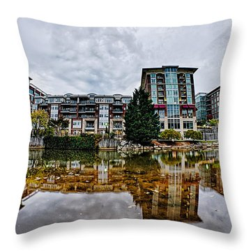 Downtown Of Greenville South Carolina Around Falls Park Throw Pillow