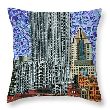 Downtown Pittsburgh - View From Smithfield Street Bridge Throw Pillow by Micah Mullen