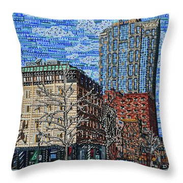 Downtown Raleigh - Fayetteville Street Throw Pillow by Micah Mullen