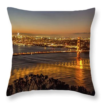 Downtown San Francisco And Golden Gate Bridge Just Before Sunris Throw Pillow
