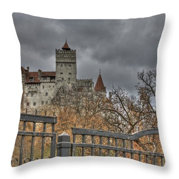 Throw Pillow featuring the photograph Dracula's Castle Transilvania In Hdr by Matthew Bamberg