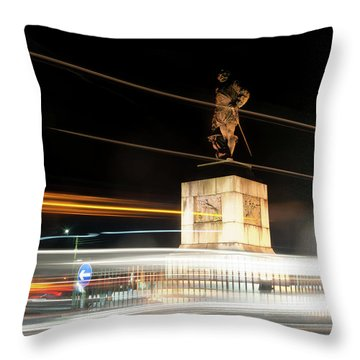 Drake's Statue Traffic Trails Iv Throw Pillow