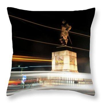 Drake's Statue Traffic Trails Iv Throw Pillow