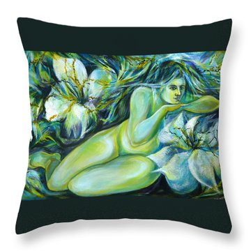 Throw Pillow featuring the painting Dreaming Flower by Anna  Duyunova
